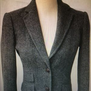 JCrew Factory Grey Herringbone Hacking Jacket